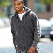 Adult Garment-Dyed Heavyweight Frayed Full-Zip Hooded Sweatshirt