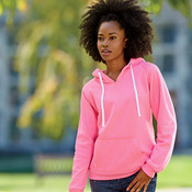 J.America Ladies' Brushed V-Neck Hooded Fleece