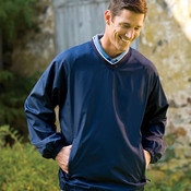 UltraClub Adult Micro-Poly V-Neck Windshirt
