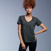 Ladies' Lightweight Striped V-Neck Tee