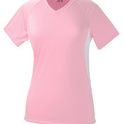 Ladies' Color Block Performance V-Neck Tee