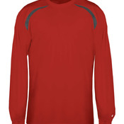 Adult Long-Sleeved Performance Tee with Heather Shoulder Inserts