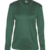 Ladies Pro Heather Long Sleeve Crew Neck Performance Tee