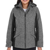 Ladies' Midtown Insulated Fabric-Block Jacket with Crosshatch Mélange