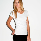 +CANVAS Ladies' Baby Rib Short-Sleeve Scoop Neck Tee