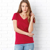+CANVAS Ladies' Jersey Short-Sleeve V-Neck Tee