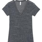 +CANVAS Ladies' Jersey Short-Sleeve Deep V-Neck Tee