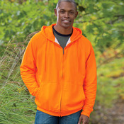 UltraClub Adult Rugged Wear Thermal-Lined Full-Zip Hooded Fleece
