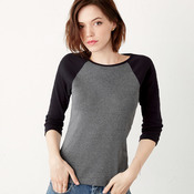 +CANVAS Ladies' Baby Rib 3/4-Sleeve Contrast Raglan Tee