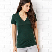 +CANVAS Ladies' Triblend Short-Sleeve Deep V-Neck Tee
