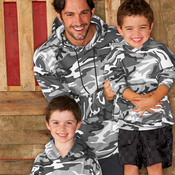 Adult Camouflage Pullover Hooded Blended Sweatshirt with Pouch Pocket