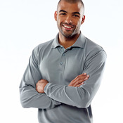 UltraClub® Adult Cool & Dry Long-Sleeve Mesh Piqué Polo