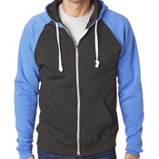 J.America Adult Tri-Blend Color Block Full-Zip Hooded Fleece