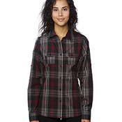 Ladies' Long-Sleeve Plaid Pattern Woven