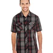 Men's Short-Sleeve Plaid Pattern Woven Shirt