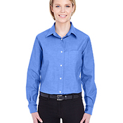 Ladies' Long-Sleeve Performance Pinpoint
