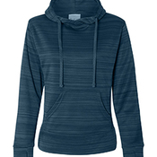 Ladies' Odyssey Striped Poly Fleece Lapover Hood