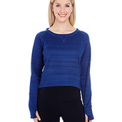 Ladies' Odyssey Striped Poly Fleece Hi-Lo Crew