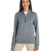 Ladies' 3-Stripes Heather Quarter-Zip