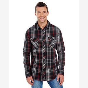 Men's Long-Sleeve Plaid Pattern Woven Shirt Thumbnail