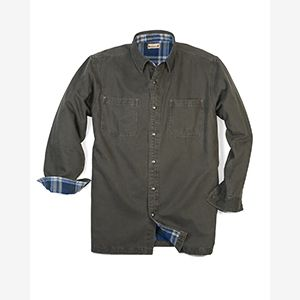 Men's Canvas Shirt Jacket with Flannel Lining Thumbnail