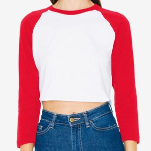 Ladies' Poly-Cotton 3/4-Sleeve Cropped T-Shirt Thumbnail